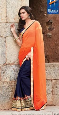 Orange , Blue,Georgette,Party wear designer saree