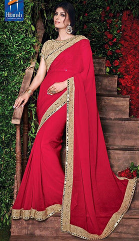 Red,Georgette,Party wear designer saree