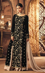 Black Velvet Party Wear Salwar Suit With  Dupatta