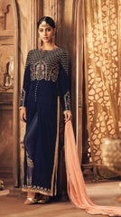 Blue Velvet Party Wear Salwar Suit With  Dupatta