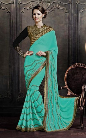 Designer Cyan and black saree with patch and zari embroidery
