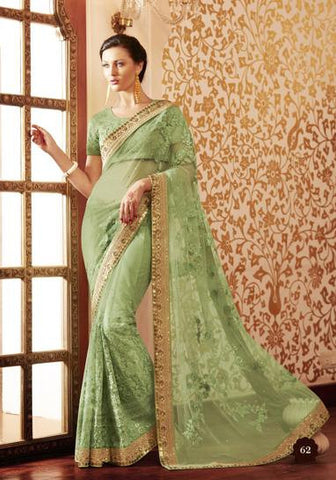 Green,Net,Designer heavy bridal saree