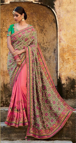 Beige , Pink,Jacquard silk,Heavy designer party wear saree