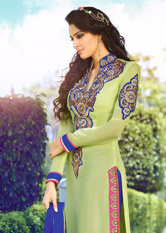 Green and blue long georgette salwar suit