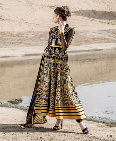 Black,Georgette,Designer anarkali heavy suits heavy work embroidery