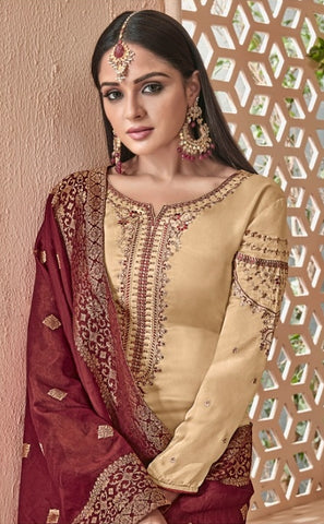 Beige Georgette With Silk Straight Salwar Kameez With  Dupatta