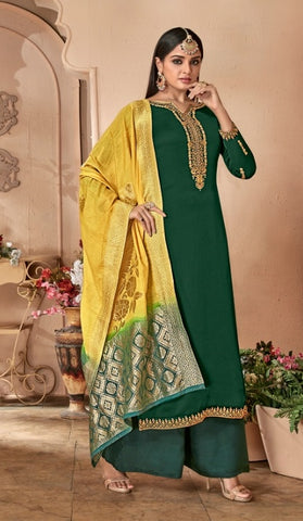 Green Georgette With Silk Straight Salwar Kameez With  Dupatta