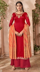 Red Georgette With Silk Straight Suit With  Dupatta