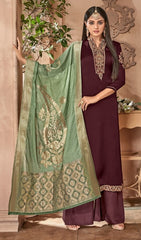 Purple Georgette With Silk Straight Salwar Kameez With  Dupatta