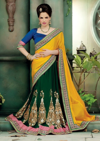 Saree yellow , Green,Net , Georgette
