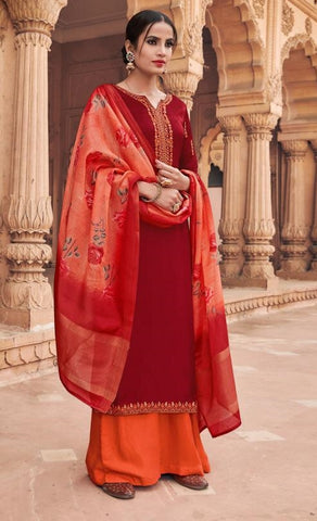 Maroon Georgette Party Wear Salwar Kameez With  Dupatta