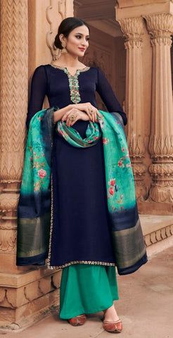 Dark Blue Georgette Party Wear Suit With  Dupatta