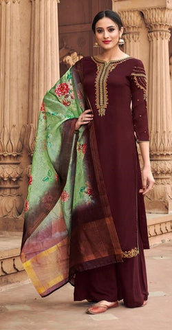 Brown Georgette Party Wear Suit With  Dupatta