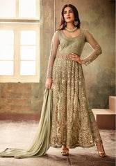 Green Net Party Wear Anarkali Dress With Green Dupatta