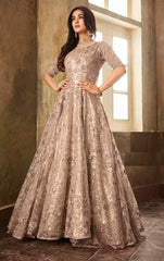 Beige Net Party Wear Anarkali With Beige Dupatta