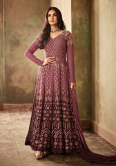 Wine Georgette Party Wear Anarkali With Wine Dupatta