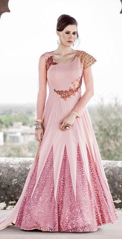 Pink,Net,Designer anarkali heavy suits heavy work embroidery
