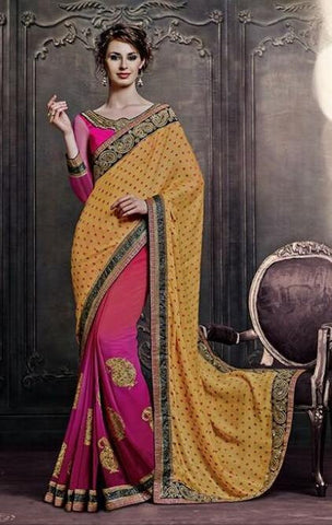 Saree in Yellow & Pink