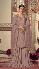 Purple Georgette Sharara Suit With  Dupatta