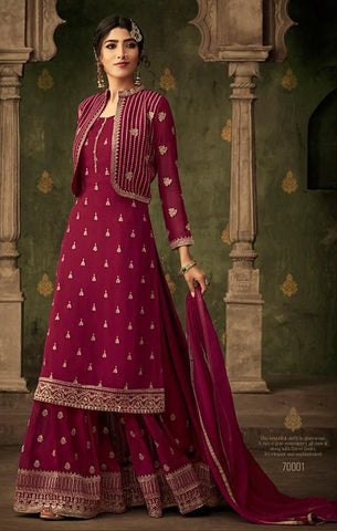 Magenta Georgette Party Wear Salwar Suit With  Dupatta