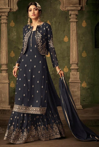 Grey Georgette Party Wear Salwar Suit With  Dupatta