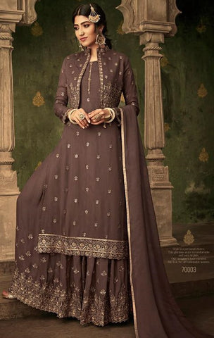 Beige Georgette Party Wear Salwar Suit With  Dupatta