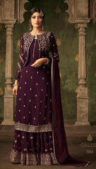 Purple Georgette Party Wear Suit With  Dupatta
