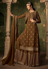 Brown Georgette Party Wear Salwar Suit With  Dupatta