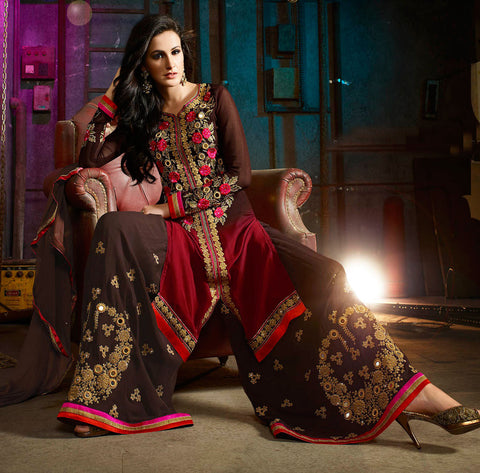 Brown , red,Georgette,Hevay party wear designer suits