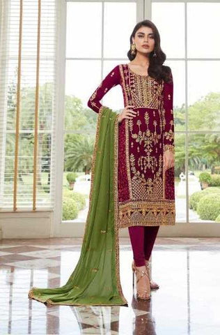 Maroon Real Georgette  Party Wear Salwar Suit With  Dupatta