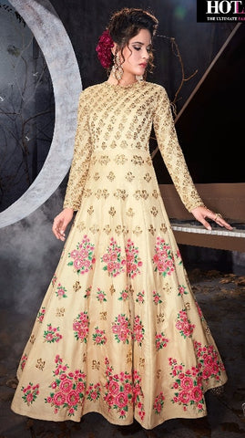 Silk Beige  Gown Type Anarkali With Dupatta