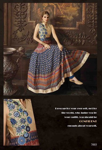 Silk Banarasi Brocade,Blue & Beige,Designer party wear anarkali suits