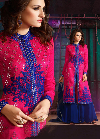 Pink Blue,Australian Silk,Hevay party wear designer suits