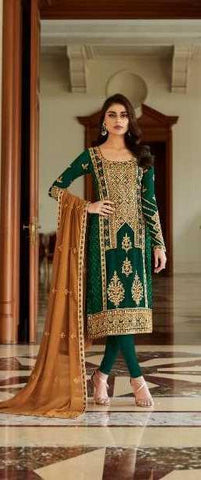 Green Real Georgette  Party Wear Suit With  Dupatta