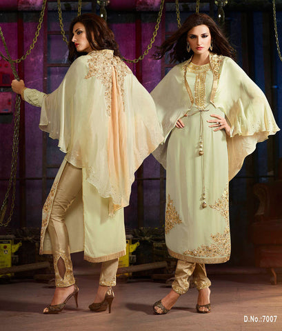 Beige,Georgette,Hevay party wear designer suits
