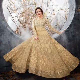 Beige Anarkali Dress With Dupatta