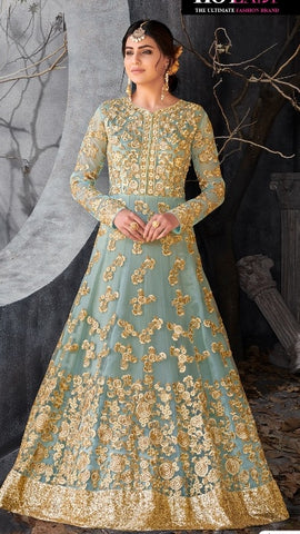 Aqua/Light Blue Anarkali with Dupatta