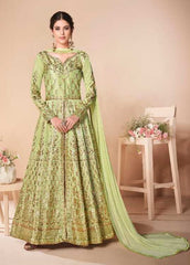 Green Mulberry Silk Party Wear Anarkali Dress With Green Dupatta