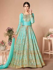 Blue Mulberry Silk Party Wear Anarkali Dress With Blue Dupatta