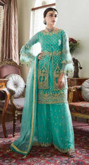 Sea Blue Butterfly Net Party Wear Salwar Kameez With  Dupatta
