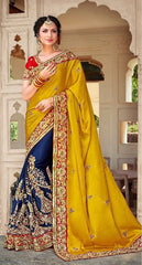 Silk Zari Work Yellow Blue Saree With Red Embridered Blouse