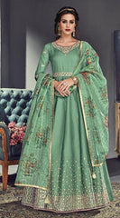 Green Silk Party Wear Anarkali Dress With Green Dupatta