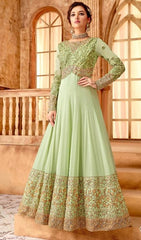 Green Georgette Party Wear Anarkali Dress With Green Dupatta