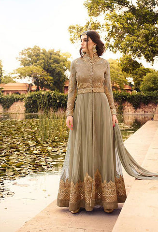 Beige,Net,Heavy party wear anarkali suits