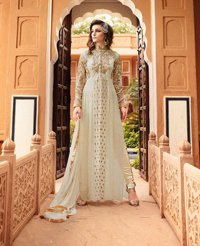 White,Georgette,Heavy party wear anarkali suits