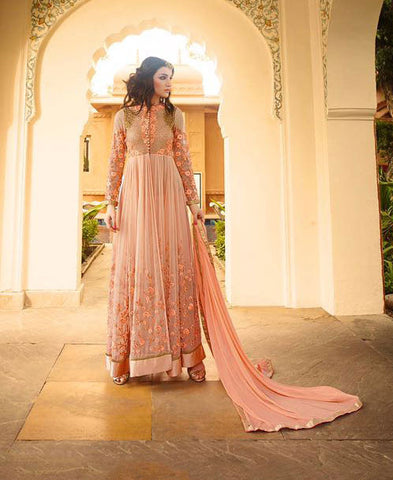 Peach,Georgette,Heavy party wear anarkali suits
