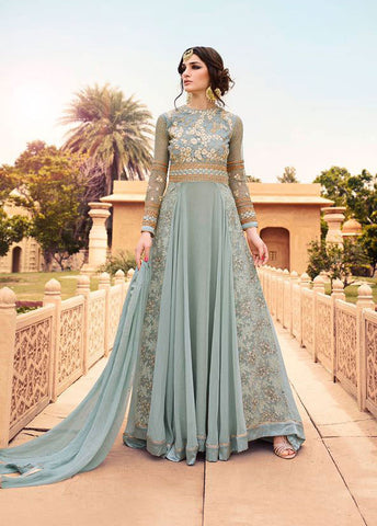 Grey,Georgette,Heavy party wear anarkali suits
