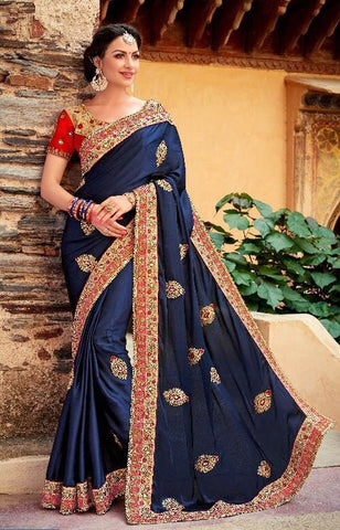 Blue And Red Heavy Embroidered Party Wear Chiffon Saree With Blouse