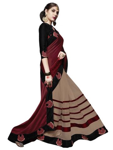 maroon , cream,georgette,Party wear designer saree