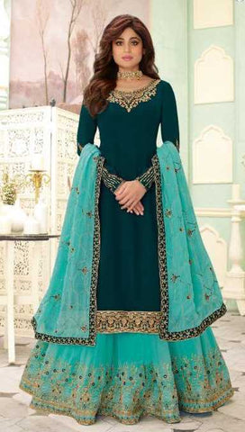Blue Real Georgette  Party Wear Salwar Suit With  Dupatta